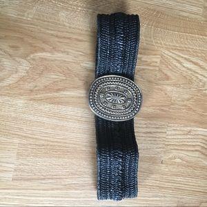 Vintage brass stretch statement waist belt black